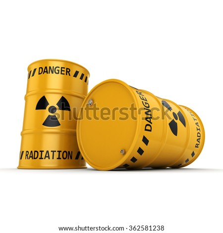 Yellows radioactive barrels on a white background - stock photo