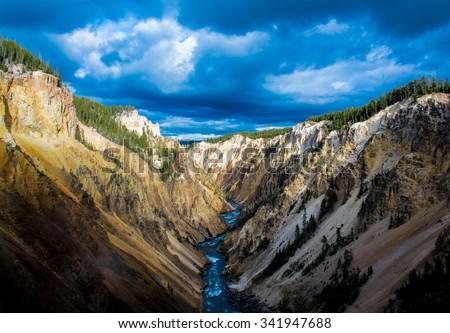 Yellowstone Canyon looking downriver of Lower Yellowstone Falls. - stock photo