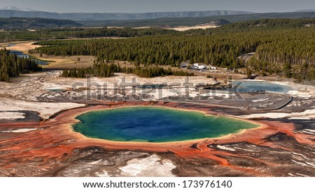 Yellowstone Grand Prismatic Spring aerial view landscape - stock photo