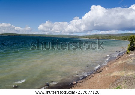 Yellowstone Lake in Yellowstone National Park in Wyoming - stock photo