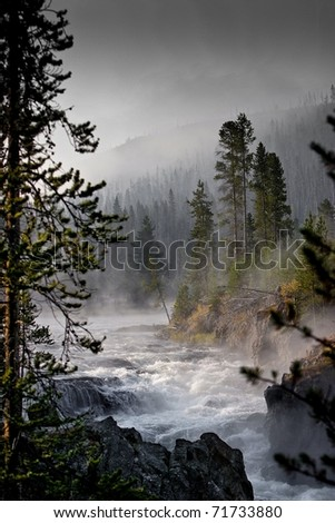 Yellowstone Madison River Early Morning Mist - stock photo