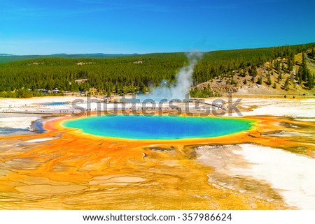 Yellowstone National Park.  Grand Prismatic Spring, Jackson Hole, Wyoming, USA.  Clear view from above. - stock photo