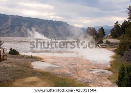 Yellowstone National Park is a national park located primarily in the U.S. state of Wyoming, although it also extends into Montana and Idaho.