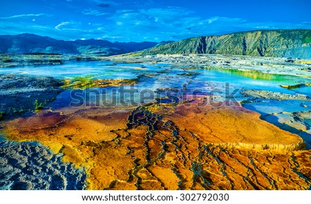 Yellowstone National Park,  Mammoth Hot Springs - stock photo