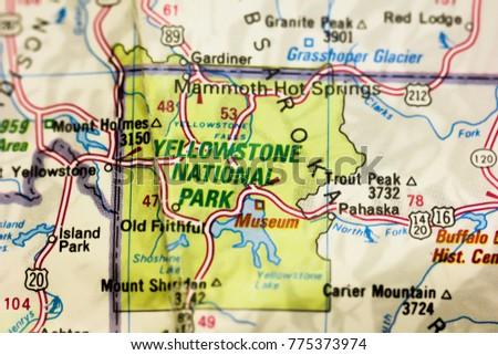 Yellowstone National Park On Map USA Stock Photo (Royalty Free ...
