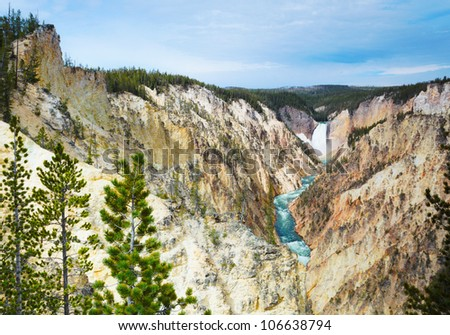 Yellowstone National Park Water Falls in Canyon, Yellowstone National Park, USA - stock photo