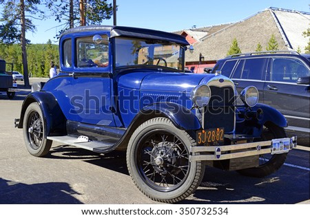 YELLOWSTONE NATIONAL PARK, WYOMING - CIRCA SEPTEMBER 2015. The Model A Ford,  successor of the Model T, was one of the best selling cars in America in the 1920s and 1930s. - stock photo