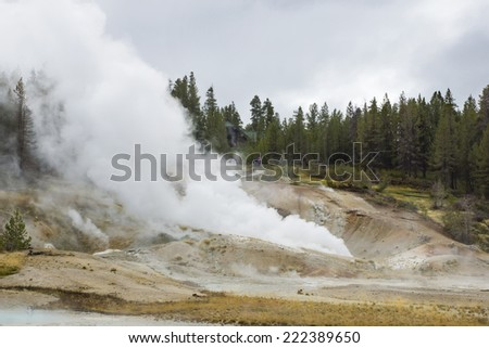 YELLOWSTONE NATIONAL PARK, WYOMING, USA - SEPTEMBER 28, 2014: Tourists on boardwalk viewing fumaroles at the Ledger Geyser in Norris Geyser Basin  in Yellowstone National Park - stock photo