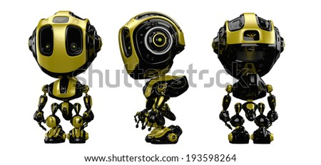 Yellowy robot / Smart radio controlled robotic toy in 3 angles. 3d render - stock photo