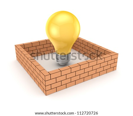 Yelow lamp behind brick wall.Isolated on white background.3d rendered.