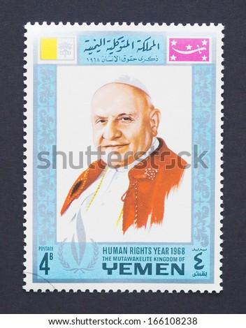YEMEN - CIRCA 1968: a postage stamp printed in Yemen showing an image of pope John XXIII, circa 1968. - stock photo