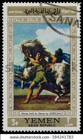 YEMEN - CIRCA 1968: stamp printed by Yemen, shows Horse held by Slaves by Gericault, circa 1968