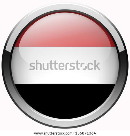 yemen flag gel metal button - stock photo