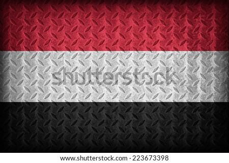 Yemen flag pattern on the diamond metal plate texture ,vintage style - stock photo