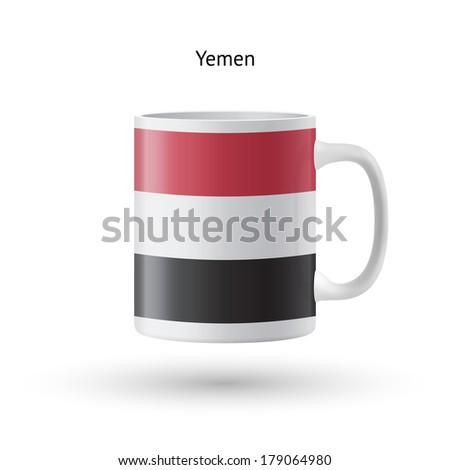 Yemen flag souvenir mug isolated on white background. - stock photo