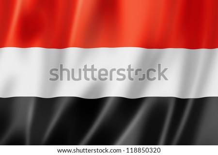 Yemen flag, three dimensional render, satin texture - stock photo