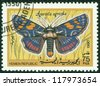 YEMEN REPUBLIC - CIRCA 1990: A stamp printed in Yemen Republic shows Agarista agricola, series devoted to butterflies, circa 1990 - stock photo