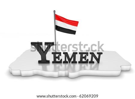 Yemen Tribute/Digitally rendered scene with flag and typography - stock photo