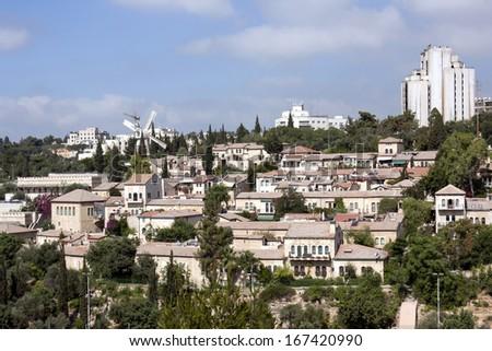 Yemin  Moshe & Mishkenot Shaananim - Jerusalem Neighborhood - stock photo