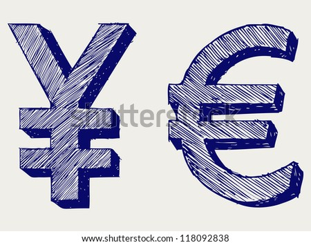 Yen and euro. Doodle style. Raster - stock photo