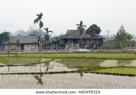 YEN BAI, VIETNAM, February 12, 2016 wooden stilt houses, highland Yen Bai