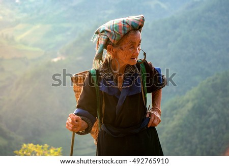 YEN BAI, VIETNAM, September 27, 2016 portrait of the elderly woman, ethnic Hmong, highland Yen Bai.