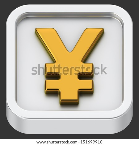 Yen currency rounded square shape application icon - stock photo