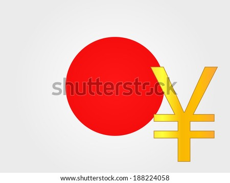 Yen Currency Sign over the Japanese Flag - stock photo