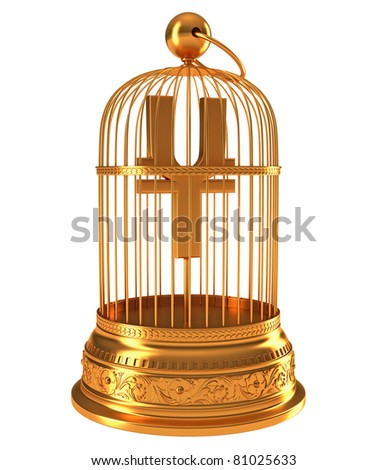 Yen currency symbol in golden birdcage isolated over white