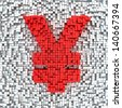 Yen currency symbol made from matrix of red cubes - stock photo