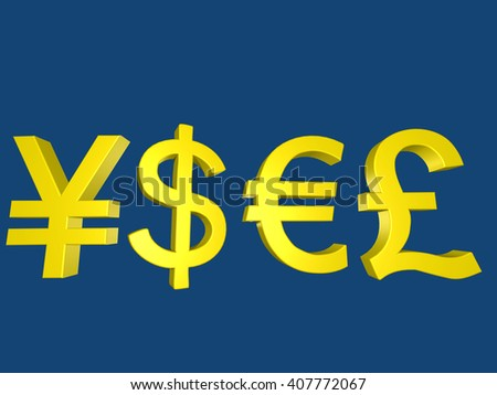 Yen Dollar Euro and Pound currency signs on blue background 3D Illustration