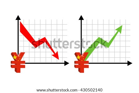 Yen Fall and growth. Reducing quotes Chinese currency, money. Red down arrow. Green Arrow. increase in sales volumes in cash market. Set grph for business infographics - stock photo