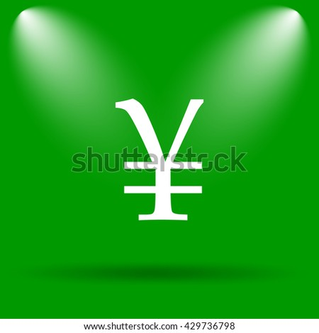 Yen icon. Internet button on green background.