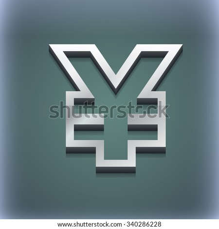 Yen JPY icon symbol. 3D style. Trendy, modern design with space for your text illustration. Raster version - stock photo