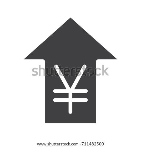 Yen Rate Rising Glyph Icon Silhouette Stock Illustration 711482500