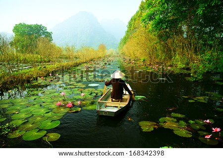 Yen stream on the way to Huong pagoda in autumn, Hanoi, Vietnam. Vietnam landscapes. - stock photo