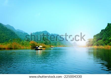 Yen stream on the way to Huong pagoda in autumn, Hanoi, Vietnam. Vietnam landscapes. - stock photo