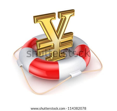 Yen symbol in a lifebuoy.Isolated on white background.3d rendered. - stock photo