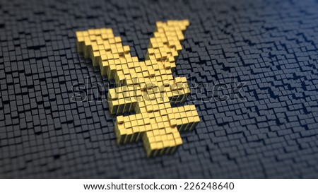 Yen symbol of the yellow square pixels on a black matrix background. Japan currency concept. - stock photo