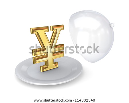 Yen symbol on a dish.Isolated on white background.3d rendered. - stock photo