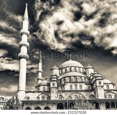 Yeni Mosque, New Mosque or Mosque of the Valide Sultan, Istanbul, Turkey. - stock photo