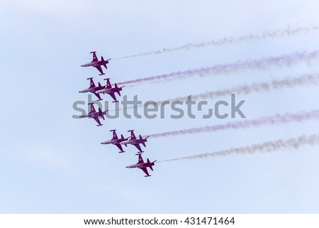 YENIKAPI-ISTANBUL, TURKEY - May 29; The Turkish Stars (Turk Yildizlari) are the aerobatic demonstration team of the Air Force and the national aerobatics team of Turkey.