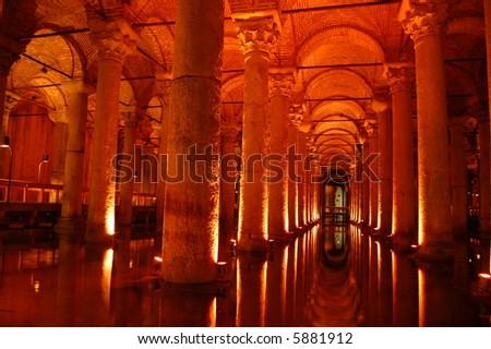 Yerebatan water cisterns in Istanbul - stock photo