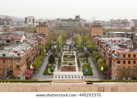 YEREVAN, ARMENIA - APRIL 10, 2016:  A view of Yerevan from Cascade complex.