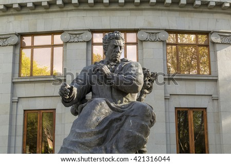 YEREVAN, ARMENIA - APRIL 18: Monument of Aram Khachaturian in front of Yerevan Opera Theatre on April 18, 2016 in Yerevan.  He was a Soviet Armenian composer and conductor.