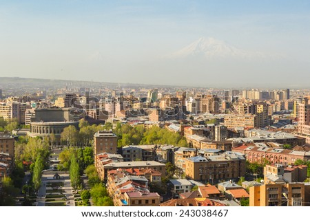 YEREVAN, ARMENIA - APRIL 2014: Morning Ararat view