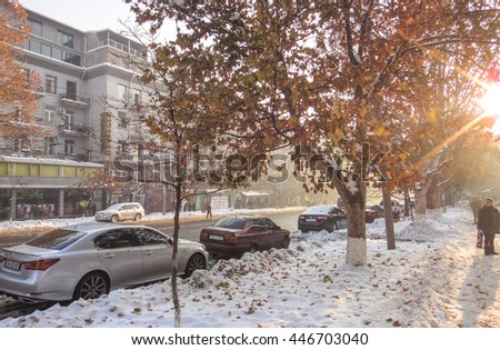 YEREVAN/ARMENIA - JANUARY 6 2016: Streets of Yerevan. Armenia. South Caucasus