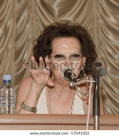 "YEREVAN, ARMENIA - JULY 12: Claudia Cardinale, famous italian actress at press conference for the journalists during the annual movie festival ""Golden Apricot"", July 12, 2010, in Yerevan, Armenia"