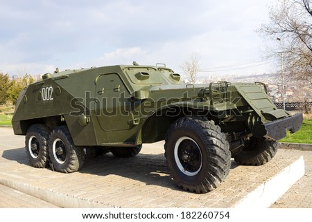 YEREVAN, ARMENIA - MARCH 15 : An old Soviet BTR-152 wheeled armored personnel carrier located in Victory Park  , shown on March 15, 2014 in Yerevan
