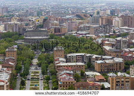 YEREVAN, ARMENIA - MAY 02, 2016: View from Cascade which is giant stairway and one of main landmarks in city. The exterior of Cascade, in addition to stairs has multiple levels with art objects
